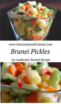 Brunei pickles recipe is easy to make and an absolute must to serve with chicken satay. They are hot, sweet and sour and you will love it!
