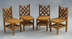 Miniature kit for criss cross patterned square back chairs. Could be used in the house or in a miniature cafe or pub.Kit is made from card and pre painted as shown in the picture. Kit can be left as it is or you can paint to suit your requirements.Lots of designs of chairs and tables available.Measures 20mm tall x 10mm wide x 11mm deep.I'm painting up some of these new kits and when I'm done I will add some pictures and some help tipsto my blog.