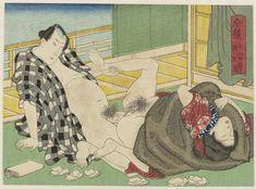 Anonymous | Gogatsu, de vijfde maand, Anonymous, 1835 - 1845 | De vrouw ligt achterover met omhoog gestoken benen. De man zit op zijn knieën en steunt een van haar benen. De deur naar de veranda staat open. De vele papiertjes - hanagami - die op de grond liggen, tonen aan dat de scène niet het begin is van de amoureuze activiteit.