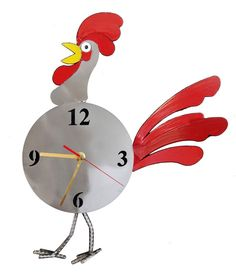 Rooster Clock by H&K Steel Sculptures | Home Decorative Accents