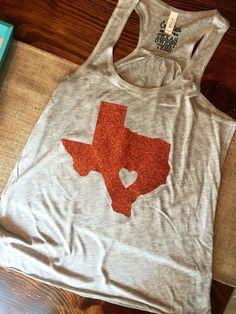 Longhorn Orange Glitter Texas Tank by TexasSweetTees on Etsy https://www.etsy.com/listing/235413410/longhorn-orange-glitter-texas-tank