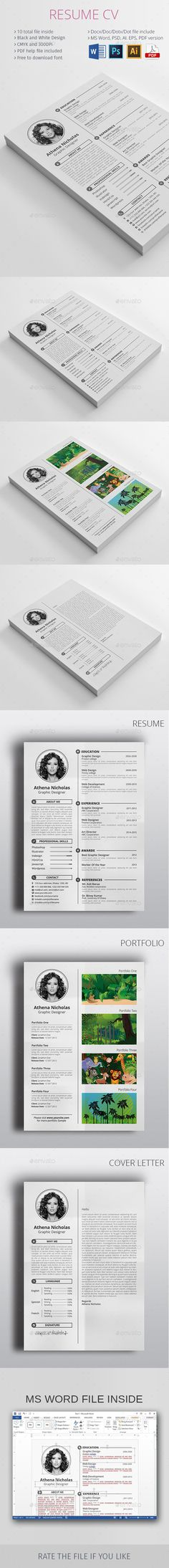 #Resume #CV - Resumes #Stationery Download here: https://graphicriver.net/item/resume-cv/11056630?ref=alena994