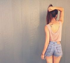#highwaisted #shorts #tattoo #cute #pink #top #ponytail