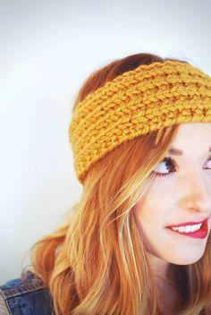 Hand Knit Mustard Ribbed Headband
