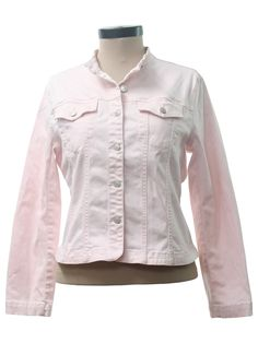 1990s Vintage Jacket: 90s -Live a Little- Womens light pink cotton and spandex blend light weight jean style jacket. Seamed details down the front and back, a tapered fit, button flapped chest pockets, button cuffs, a yoke feature, stand up collar and button front with silvertoned buttons. There is a small yellowish faint spot on the back of the right cuff, barely noticeable.