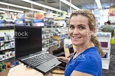 buying a laptop royalty-free stock photo