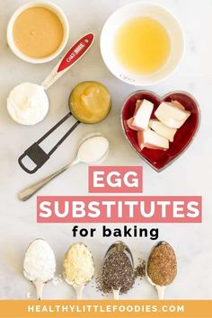 Whether you have an egg allergy, are vegan or avoid eggs for health reasons, this Baking Substitutes for Eggs Guide will help provide an egg free solution. Egg Free Recipes, Baking Recipes, Vegan Dishes, Vegan Desserts, Egg Substitute In Baking, Egg Substitute For Pancakes, Egg Replacement In Baking, Most Common Food Allergies, Egg Alternatives