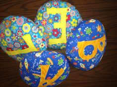 """Little """"initial"""" pillows I made for Ursula's class."""