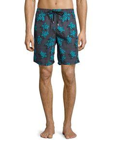 Vilebrequin+Okoa+Sea+Reflection+Printed+Swim+Trunks+Black+Pattern+|+Swimwear+and+Clothing
