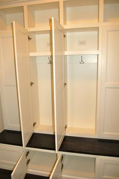 Mud room with doors and electrical