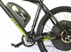 The BionX electric bike kit offers regenerative braking - very rare in an electric bike Electric Bike Kits, Best Electric Bikes, Bike Storage Design, Bike Design, E Bike Kit, Bike Icon, Vertical Bike, Mountain Biking Women, Bike Tattoos