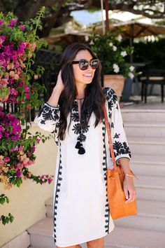 Kat Tanita of With Love From Kat wears a Figue embellished kaftan to lunch at Cap Ferrat hotel on the French Riviera. Ethnic Fashion, Boho Fashion, Fashion Dresses, Womens Fashion, Cute Dresses, Casual Dresses, Casual Outfits, Vetement Fashion, Embroidered Clothes