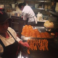 Oralia & Maria are making little enchiladas potosinas for Frontera service today.
