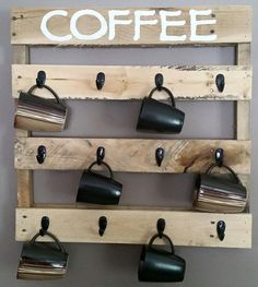 Pallet Furniture Projects Coffee Mug Holder - Pallet Furniture Designs, Wooden Pallet Furniture, Wooden Pallets, Home Furniture, Furniture Ideas, Recycled Furniture, Pallet Wood, Outdoor Furniture, Bedroom Furniture