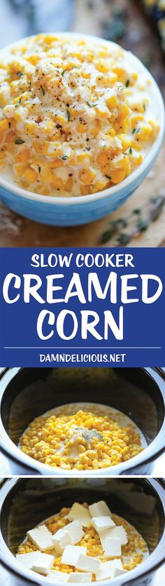 Slow Cooker Creamed Corn - So rich and creamy, and unbelievably easy to make with just 5 ingredients. It does not get easier than that!