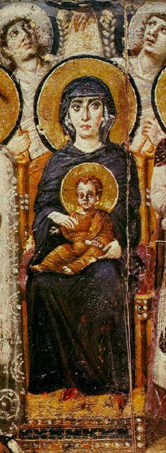 The oldest Byzantine icon of Mary, c. 600, Saint Catherine's Monastery, encaustic on panel.