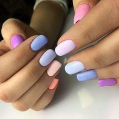 40 Bright Nail Art for Spring Style /.Awesome 40 Bright Nail Art for Spring Style /. Gradient Nails, Rainbow Nails, Cute Acrylic Nails, Acrylic Nail Designs, Fun Nails, Nail Art Designs, Nails Design, Easy Nails, Galaxy Nails