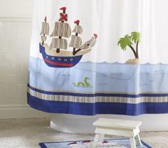 "Pirate Shower Curtain - idea for wall...do a pink ""snake"""