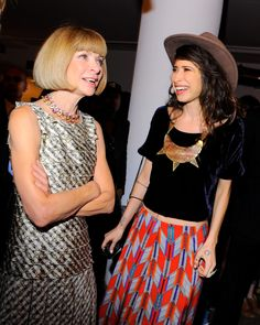 Anna Wintour and Pamela Love wearing  a Mara Hoffman skirt