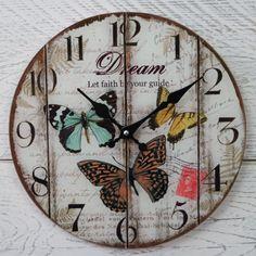 Reloj De Pared Shabby Chic Rústico Vintage Redondo Crema Mariposa Sueño Fe De Cristal