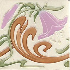A great Belgium Art Nouveau tile. It is done by Hasselt. We have 3 tiles in this design at the moment.Beautiful glaze colors, the lavandar is lovely. They would work very nicely into an installation or...