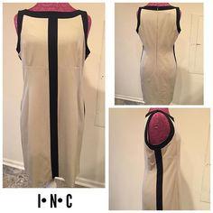 I•N•C International Concepts Size ~ 10 Shell ~ 62% polyester,33% rayon, 5% spandex  Lining ~ 100%  acetate  Shoulders ~ 13.5 Arm ~ sleeveless  Chest ~ 18 Waist ~ 17 Hips ~ 28.5 Length ~ 35 Hidden back zipper Hook & eye Tan Black $28