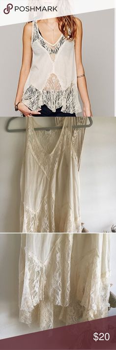 Free people lace tank top Free people Intimately line Lacey cream colored tank top! Flowy and boho 😍 worn several times but good condition! Free People Tops