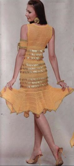Crochet dress with flared skirt…. see pattern diagram