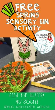 Free /k/ sound activity; sensory bin; speech therapy; articulation. Easter, Spring. Ms Gardenia's Speech Room.