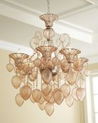 Bella Vetro 6 light Chandelier by Cyan Design features artistically textured Murano style blush pink glass drops and faceted swags. Modern Chandelier, Chandelier Lighting, Crystal Chandeliers, Blown Glass Chandelier, Bedroom Chandeliers, Antique Chandelier, Glass Lamps, Glass Ceiling, Pendant Lights