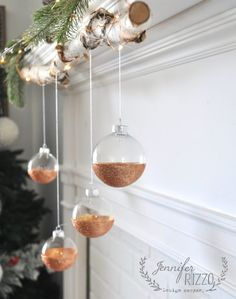 Modern rustic easy DIY glitter ornament MichaelsMakers Jennifer Rizzo