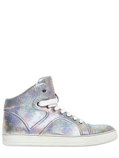 LAMINATED LEATHER HIGH TOP SNEAKERS
