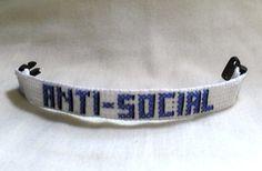 AntiSocial Bracelet Cross Stitch Wrist by SnarkyLittleStitcher, $8.00