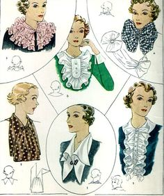 1930s Vintage McCall Sewing Pattern 7873 Misses Set of Collar 1 Size Fits All #McCall #1930sCollarsPattern