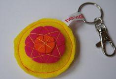 sleutelhanger vilt geel/roze/oranje, het Vrolijke Nest