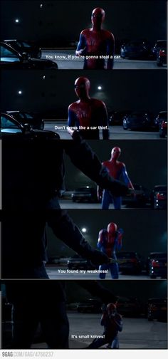 oh spiderman, you make me laugh. I love Andrew Garfield as Spiderman but I loved James Franco as Harry Osborne. Oh god I'm so torn! Dc Movies, Good Movies, Movie Tv, Funny Movie Scenes, Johnlock, Destiel, Nananana Batman, Amazing Spiderman, Spiderman Movie