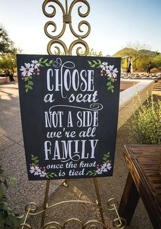 Choose a seat not a side we're all family once the knot is tied, graphic black wedding ceremony sign, gold stand // Ben and Kelly Photography