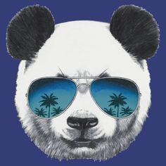 'Panda with sunglasses' T-Shirt by AnimalsFashion Dj Panda, Panda Art, Panda Love, Gorillaz, Spirit Animal, Mirrored Sunglasses, Cute Animals, Creatures, Teddy Bear
