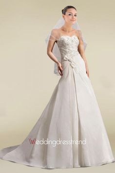 Cheap Graceful Sweetheart Beaded Appliques A-line Wedding Dress - Beautiful Wedding Dresses Wholesale and Retail Online