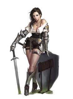 Foxy Fantasy Girl female fighter paladin