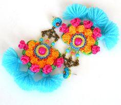 big earrings pom pom earrings colorful festival earrings Big Earrings, Unique Earrings, Tassel Earrings, Crochet Earrings, Textile Jewelry, Fabric Jewelry, Crochet Lace Edging, Beaded Embroidery, Ideias Fashion