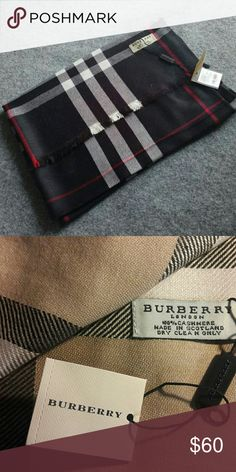 PLAID Cashmere Pashmina Winter Shawl NWT New plaid high quality scarf Cashmere pashmina shawl New in sealed package Original brand logo and tag Burberry Accessories Scarves