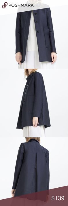 ZARA Coat Perfect for Fall! BRAND NEW Brand new with tags, never worn. Coat with Peter Pan Collar. Color: Navy Blue. Cheaper on Ⓜ️, just ask :) Zara Jackets & Coats