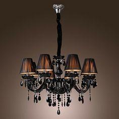 lustre de cristal preto com 8 luzes aliexpress