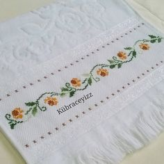 This Pin was discovered by Mel Just Cross Stitch, Cross Stitch Needles, Cross Stitch Borders, Cross Stitch Flowers, Cross Stitch Designs, Cross Stitching, Cross Stitch Patterns, Towel Embroidery, Embroidery Needles