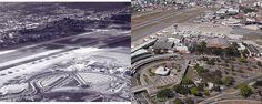 Aeroporto de Congonhas nos anos 1940 e em 2011. Fotos históricas em www.fotografiasaereas.com.br/blog/ontem-e-hoje-fotos-dos-77-anos-do-aeroporto-de-congonhas