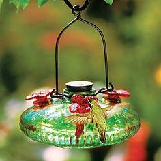 A pretty hummingbird feeder