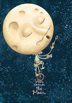 """Here comes the moon"". illustration of Ismael Angeles Sun Moon Stars, My Sun And Stars, Luna Moon, Moon Pictures, Paper Moon, Good Night Moon, Moon Magic, Beautiful Moon, Moon Art"