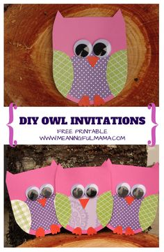 Cute Owl party invitations with  free printable template