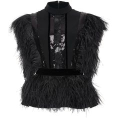 Ostrich Feathers Top | Moda Operandi (140.825 RUB) ❤ liked on Polyvore featuring tops, feather top and peplum top